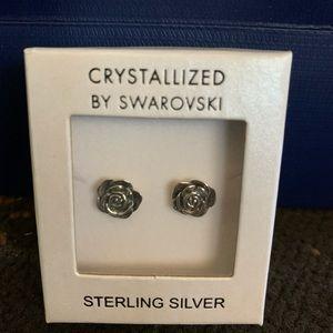 Swarovski sliver rose earrings